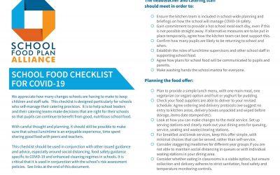 School Food Checklist for Covid 19